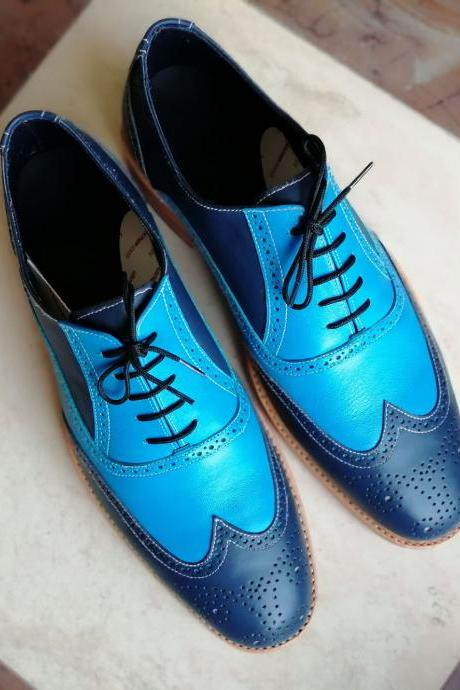 Balmoral Blue Full Brogue Wingtip Contrast Sole Real Leather Formal Lace Up Men Dress Shoes