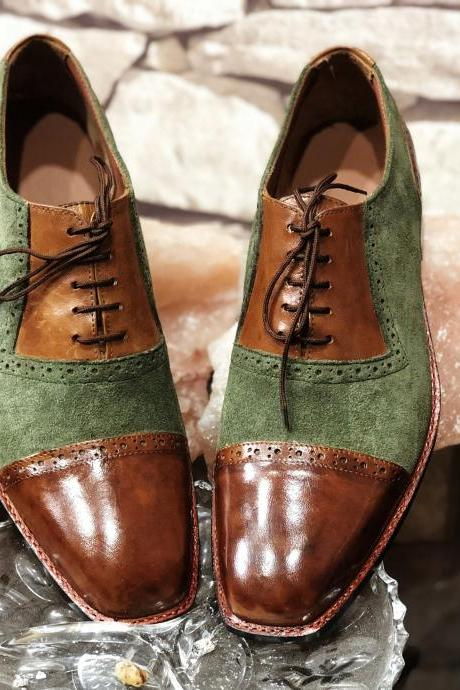 Customize Two Tone Brown Green Suede Leather Throat Cap Toe Oxford Lace Up Shoes