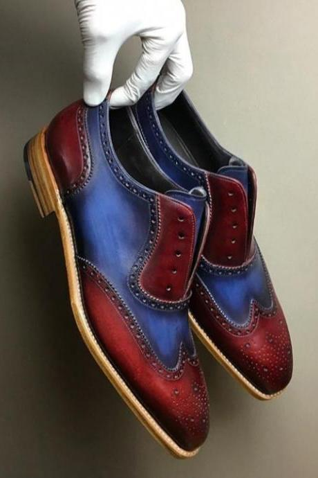 Luxury Handmade Two Tone Blue Red Lace Up Premium Leather Brogue Wingtip Shoes