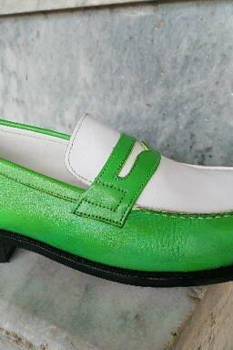 Stylish Green White Two Tone Penny Loafer Slip On Real Leather Moc Toe Men Shoes