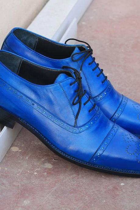 Blue Balmoral Handmade Semi Brogue Genuine Leather Cap Toe Men Lace Up Shoes