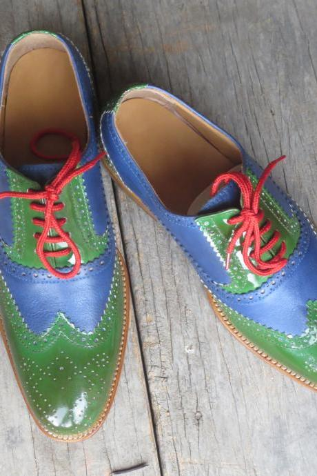 Two Tone Green Blue Medallion Wingtip Oxford Leather Contrast Sole Lace Up Shoes