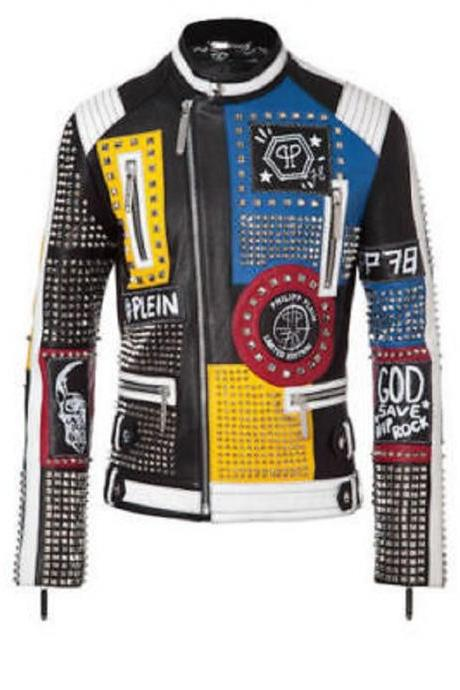 Men Handmade Punk Jacket Multi Colors Zipper Pockets Real Leather Studded Jacket