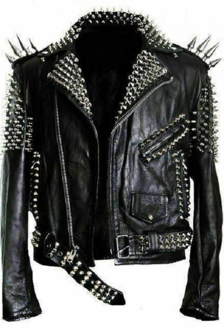 Silver Spike Studs Premium Leather Bikers Pockets Handmade Zipper Cuffs Jacket