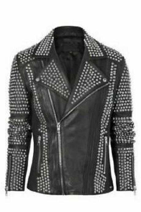 Customize Biker Zipper Wear Silver Studded Real Leather Lapel Collar Punk Jacket