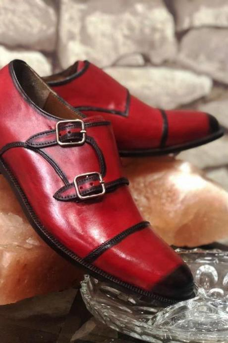Luxury Monk Shoes In Red Patina Double Buckle Strap Premium Leather Party Shoes