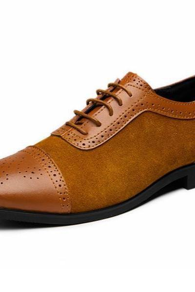 Cap Toe Balmoral Lace Up Shoes For Men Suede Leather Contrast Sole Made To Order