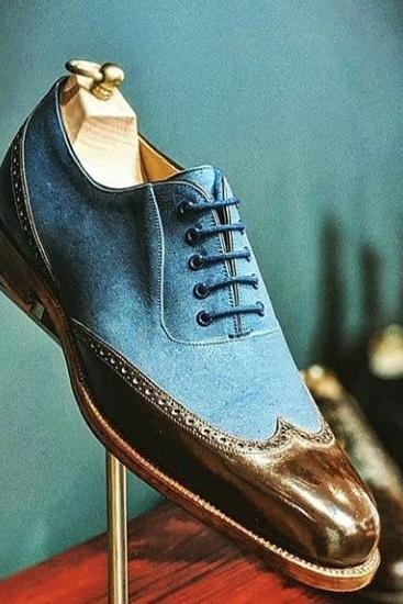 Fresh Design Wingtip Oxford Shoes For Men Handmade 100% Suede Leather Lace Up