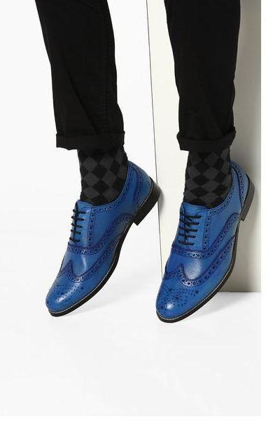 Trendy Oxford Shoes For Men Genuine Leather Full Brogues Wingtip Lace Up