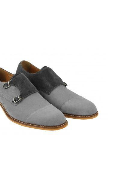 New Look Double Monk Strap Shoes For Men Original Suede Leather Hand Constructed