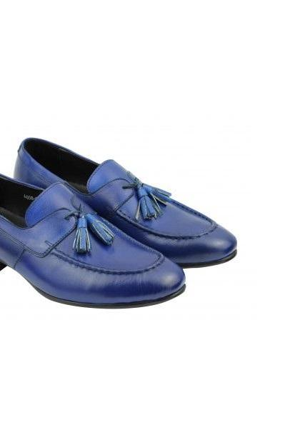 Apron Toe Blue Tassel Loafers Shoes For Men Custom Made Slip On Pure Leather