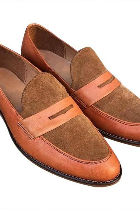 Men's Slip On Penny Loafers Premium Suede Leather Custom Made Formal Shoes