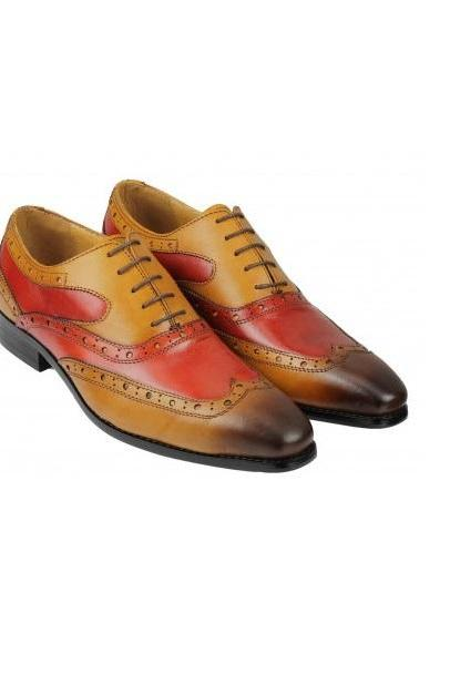 Multicolor Oxford Men Shoes Handmade Pure Leather Wingtip Lace Up Contrast Sole
