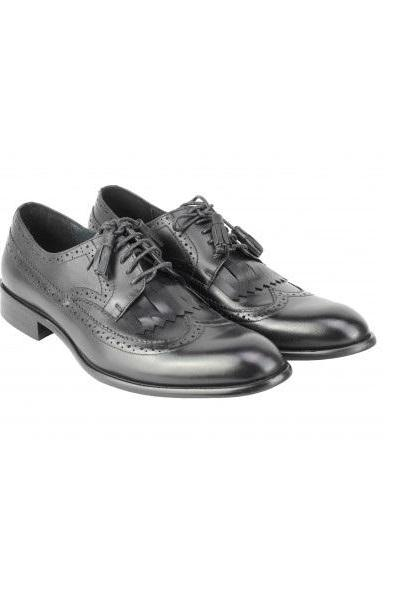 Classic Shine Derby Shoes With Tassels Lace Up Wingtip 100% Leather Handcrafted