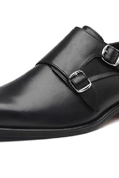 Dual Buckle Monk Strap Shoes For Men Handmade Real Leather Plain Toe Formal Wear