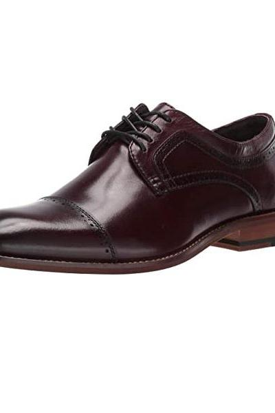 Gibson Shoes For Men In Burgundy Cap Toe Lace Up Premium Leather Custom Made