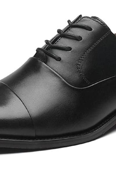 Men's Classic Cap Toe Oxford Dress Shoes Lace Up Premium Leather Made To Order