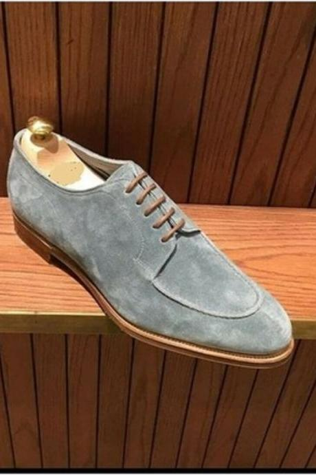 Suede Leather Blucher For Men Apron Toe Lace Up Shoes Handcrafted Casual Wear