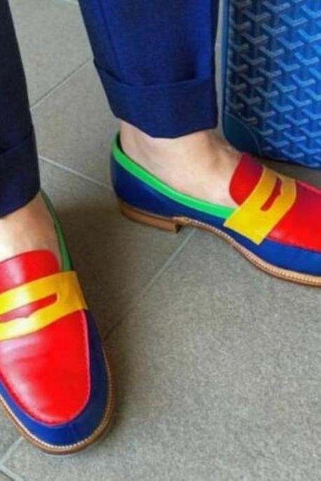 Vibrant Penny Loafers In Multicolor Apron Toe Slip On Real Leather Handcrafted