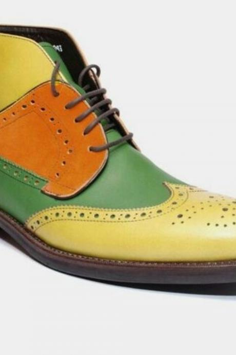Ankle Brogue Boots In Multicolor For Men Handmade Pure Leather Wingtip Lace Up