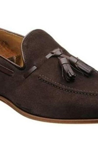 Men's Best Tassel Loafers Apron Toe Slip On Shoes Handcrafted Real Suede Leather