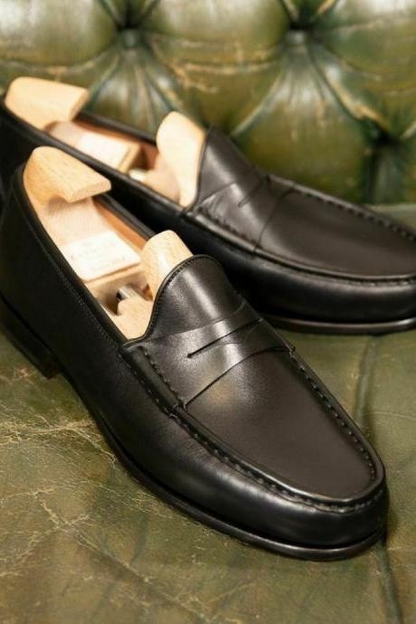 Essential Men's Penny Loafers Handstitched Real Leather Apron Toe Slip On Shoes