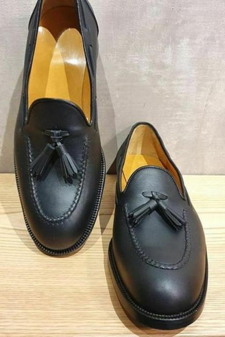 Moc Toe Tasseled Loafers For Men Made To Measure Pure Leather Slip On Dress Shoe