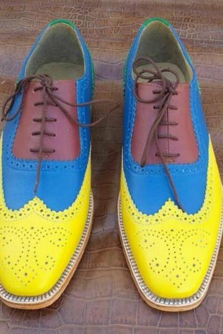 Colorful Full Brogues Oxfords For Men Wingtip Lace Up Real Leather Custom Made