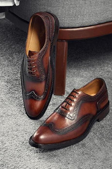 Short Wing Balmoral Shoes For Men Wingtip Lace Up 100% Leather Made To Measure