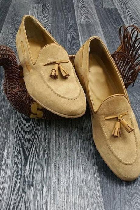 Full Suede Leather Men's Tassel Loafer Apron Toe Slip On Handmade Quality Shoes