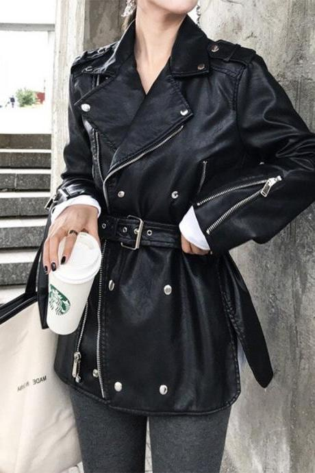 Women Windproof Premium Cowhide Leather Button Zippered Fashion Coat Jacket