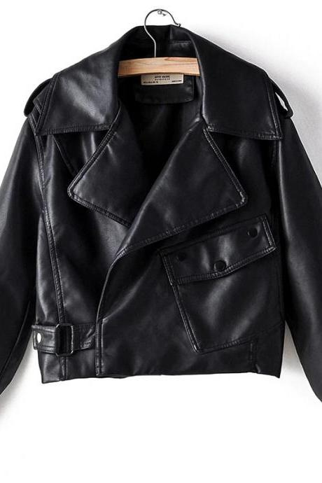 Stylish Black Color Bikers Shoulder Epaulets Real Leather Ladies Fashion Jacket