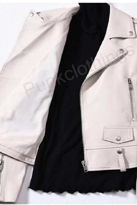 Made To Order Lapel Collar Handmade Ladies Epaulets Brando Leather Bikers Jacket