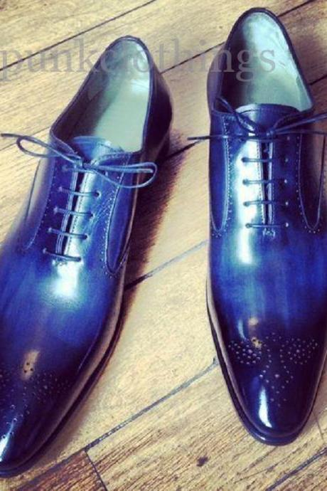 Oxford Blue Patina Burnished Real Leather Brogue Lace Up Handmade Formal Shoes