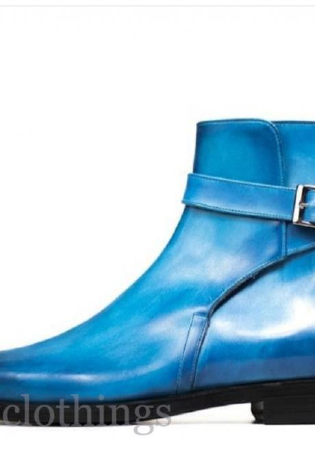 Jodhpur Blue Patina Round Buckle Strap Cowhide Leather Handmade High Ankle Boots