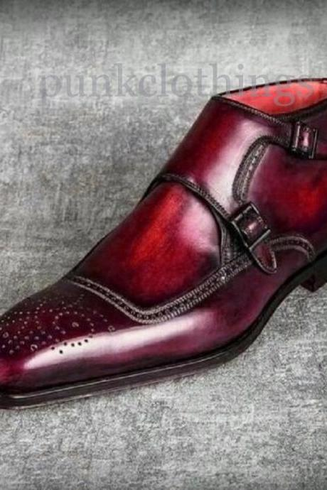 Monk Strap Burgundy Patina Brogues Hand Painted Cowhide Leather Men Ankle Boots