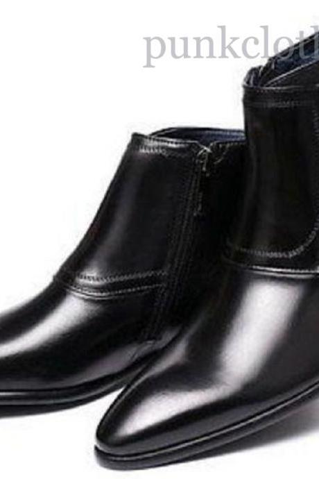 Triple Monk Strap Black Patent Zipper Cow Skin Leather Men Handmade Ankle Boots