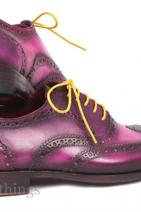 Handmade Oxford Violet Burnished Real Leather Wingtip Yellow Laces Formal Shoes