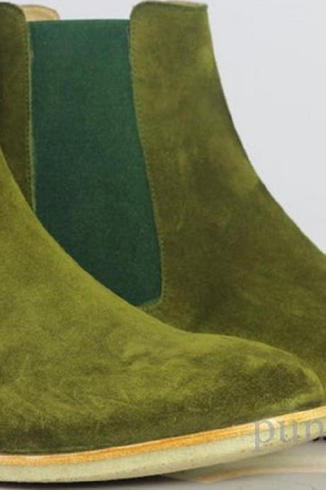 Jumper Olive Green Chelsea Pull On Pure Suede Leather Elastic Gores Ankle Boots