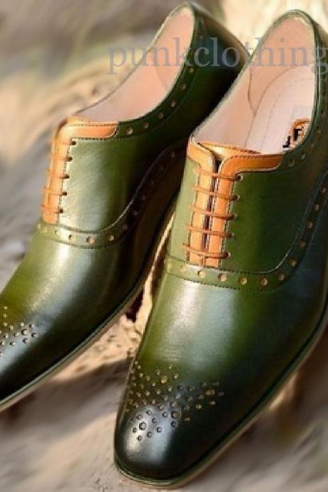 Oxford Green Patent Medallion Orange Laces Cowhide Leather Formal Dress Shoes